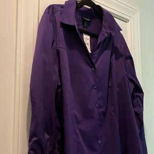 Lane Bryant new purple button down shirt Size 22